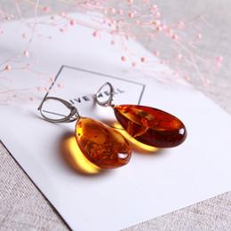 diamante ambra Sconti JIUDUO Autentico lusso multicolore 100% Natural Ambra Beeshose Argento Diamanti intarsiati Taglia superficie Superficie taglio Urto Orecchini