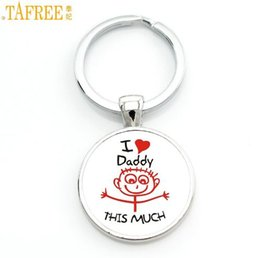 Wholesale Cross Chain Ring - TAFREE exquisite fashion I Love daddy this much keychain men jewelry je suis un papa qui dechire key chain ring holder dad CT494