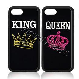 Teléfonos celulares rey online-King and Queen Couple Love Phone Case Fashion Simple para iPhone 7 Plus cubierta del teléfono celular regalo gratuito
