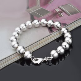 Wholesale nice birthday party - Silver plated 10MM CHAIN 925 bead bracelet fashion charm Women lady jewelry cute nice pretty wedding birthday gift S40