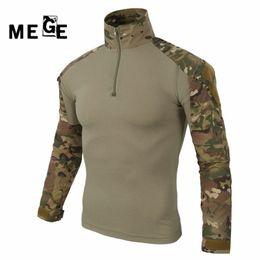 Traje de ejército online-MEGE multicam ejército camisa de combate uniforme camisa táctica con coderas camuflaje caza ropa ghillie traje superior