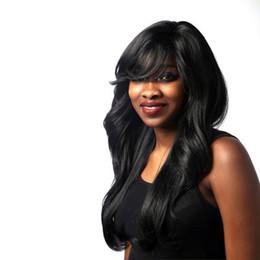Tipos africanos on-line-Peruca Africana Franja Preta Parcial Ondulada Longa Cabelo Encaracolado Rede de Cabelos Respirável Estilo bonito de senhora Adequado para todos os tipos de rosto