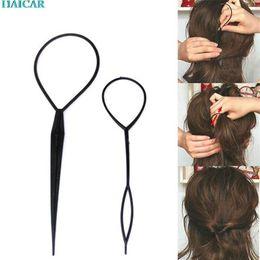 Wholesale Topsy Tool Hair Styles - 2 Pcs Fashion Topsy Tail Hair Braid Pony Tail Maker HAIR Styling Tool Salon Levert Dropship