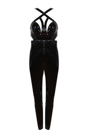Wholesale Tight Party Jumpsuits - 2018 new woman Jumpsuits tight nightclub socialite birthday party fashion sexy package hip leisure hollow out black PU leather