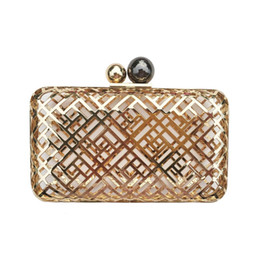 Wholesale clutch clasp frame - YENS 2017 Newest Hollowed-out Metal Clutch Box Women's Evening Bag Wedding and Bridesmaid Handbag Unique Metal Wallet Ball Clasp