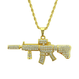 Hip Hop AK47 Pendant Necklace Men Women Rock Jewelry Gifts Gold Color Bling Iced Out Rhinestone Miami Cuban Chain Deals