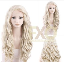 wavy blonde lace wig synthetic 2018 - Long Curly Wavy Light Ash Blonde Heat Resistant Synthetic Lace Front Wig Hair