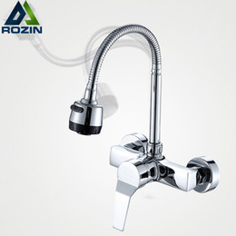 Wholesale flexible faucet - Free Shipping Stream Spray Bubbler Bathroom Kitchen Faucet Wall Mounted Dual Hole Hot and Cold Water Flexible Pipe Kitchen Mixer