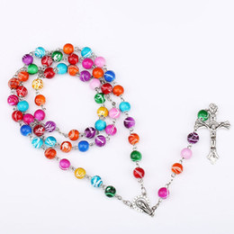 Wholesale catholic religious jewelry wholesale - Colorful Polymer Clay Bead Rosary Pendant Necklace Alloy Cross Virgin Mary Centrepieces Christian Catholic Religious Jewelry dropship 162670