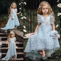 Wholesale Toddlers High Low Pageant Dresses - 2018 Light Sky Blue High Low Flower Girls Dresses For Weddings A-Line Toddler Pageant Dress Tulle Ruffled First Communion Gowns