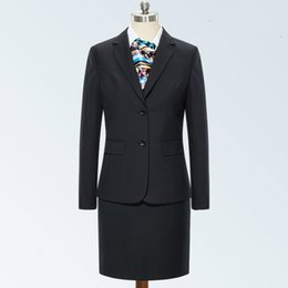 vestiti di affari delle donne di alta moda Sconti Le giacche monopetto e la gonna monopetto 2018 High End da donna professionale da ufficio sono vestite in stile business femminile nero