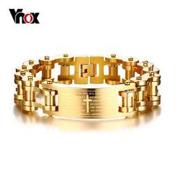 2019 braccialetto largo pesante Vnox 17.5MM Wide Heavy Bibbia da uomo Cross Bike Chain Bracciale in oro tono acciaio inossidabile moto Braslet gioielli maschili braccialetto largo pesante economici