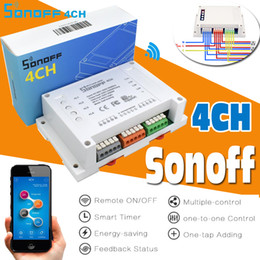 Wholesale wireless switch module - Sonoff 4CH 4 Channels Smart Remote Controller Wireless Switch Module Update Smart Home Solution Timer Switch Via Smartphone By APP eWelink
