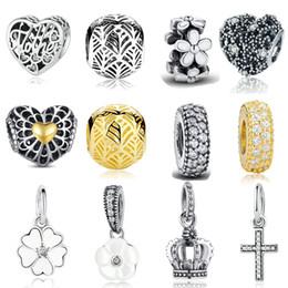 Plata de ley antigua online-INBEAUT Antique Real 925 Sterling Silver Heart Zircon esmalte de la flor del encanto de los granos en forma de pulsera de Pandora joyería fina Teen Girls