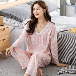 5564a4190b Autumn New Cotton Printing V-neck Top + Long Pant 2 Piece Sets Pajamas Set  For Women Sexy Sleepwear Pyjamas M L XL XXL XXXL