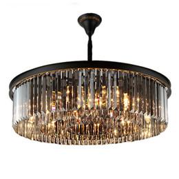 Lustre en cristal américain salon lampes de plafond chambre en fer forgé simple hôtel nordique postmoderne lustres personnalité créatrice ? partir de fabricateur