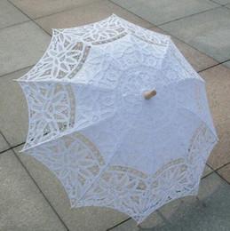 Wholesale Lace Parasols For Weddings - Lace Embroidery Parasol Hook Flower Vintage Design Pure Cotton Wedding Umbrella Handmade Wooden Handle For Wedding Bridal Shower Umbrella