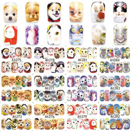 Wholesale Uv Decals - WUF Sheet Nail Water Transfer Decals Animals Dog Owl Cat Nail Stickers UV Gel Decoration Makeup Tools A1273-1296