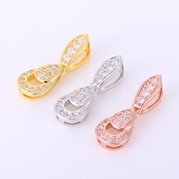 Arc pave en Ligne-Nouveau Micro Pave Réglage Cubic Zirconia Bow Charme Rhodium / Or / Or Rose Couleur Bijoux Fermoirs Pour Bracelets De Fabrication CHFC09