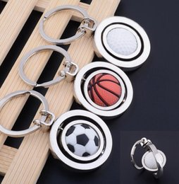 Wholesale Rotating Keychain - World Cup Football Keychain Key Chain Pendant Rotating Soccer Basketball Golf Key Chain Pendant Gifts KKA4020