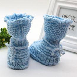 df36bfefe347 Wholesale- Handmade Newborn Baby Infant Boys Girls Crochet Knit Booties  Casual Crib Shoe crochet baby booties wholesale promotion
