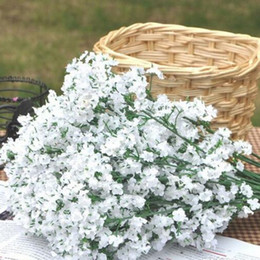 cesta de buquê de flores artificiais Desconto 2 cores de flores artificiais Gypsophila Bebê de Respiração Artificial Flores de Seda Falso Planta Decoração de Casa Decoração Do Casamento Livre Shpping