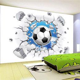 Wholesale Football Wall Decor - Custom 3D Mural Wallpaper Modern Simple Football Broken Wall Photo Wall Murals Kids Bedroom Living Room Creative Decor Wallpaper