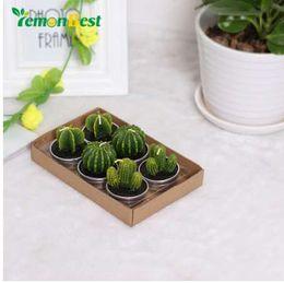 Cera di candele verdi online-LemonBest 6PCS / set Home Decor Cactus Candle Table Tea Light Garden Mini candele verde cera per la decorazione di compleanno di nozze