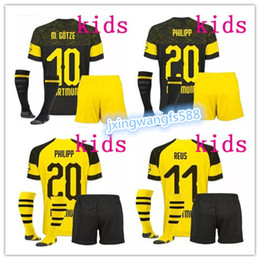 Crianças borussia on-line-2018 2019 REUS PULISIC camisa de futebol crianças Kit 18 19 M.GOTZE MAILLOT YARMOLENKO camisas de futebol kagawa Borussia Dortmund