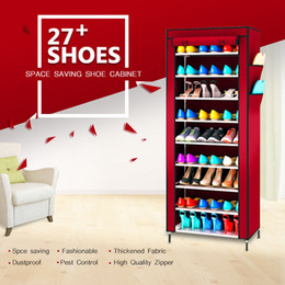 Wholesale wholesale storage cabinets - Wholesales 10 Layers 9 Grid Shoe Rack Shelf 12 Colors Storage Closet Organizer Cabinet Shoe Storage Box Organizador Furniture Home Decor