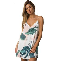 2019 weißer v-ausschnitt cami Weißes Cami Sommer-Kleid-Frauen-Palmblatt-Druck Doppeltes V-Ausschnitt-beiläufiges Shift Dresses 2018 Art- und WeiseSexy ärmelloses Kleid günstig weißer v-ausschnitt cami