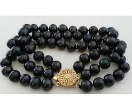 Wholesale strands tahitian black pearls - Chming Triple Strands 8-9mm Natural Tahitian Black Pearl Bracelet 7.5-8inch 14k Gold