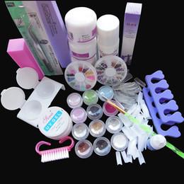 Wholesale Acrylic Red Nail Tips - Nail Tools Sets Kits Free Shipping Pro Full Acrylic Powder Liquid French Nail Art Brush Glue UV Tip Kit Set #189, No.HB-NailArt01-189set