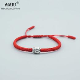 2019 knoten perlen armband AMIU 3 Farben Tibetischen Buddhistischen Gebetskette Glücksbringer Tibetische Armbänder Armreifen Für Frauen Männer Handgefertigte Knoten Seil Armband günstig knoten perlen armband