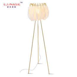 Wholesale nordic fabric - Nordic Gold Finished Feather Bed Room Floor Lamp Art Decoration Living room Hotel Floor light Creative lighting AC 110V 220V E27