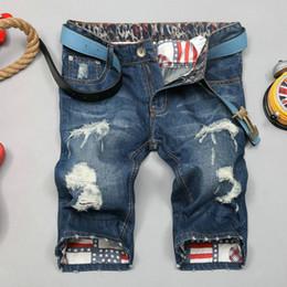 Wholesale stripe denim shorts - Mens jeans Shorts high quality Motorcycle biker jeans Short Pants Tight Skinny Slim Ripped hole Men's Denim Shorts Men Designer Short jeans