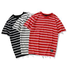 Dessus rayé blanc rouge en Ligne-T-shirts à rayures à la mode 2018 Hommes Femmes Skateborad T-shirts à rayures rouges et blancs Top T-shirts