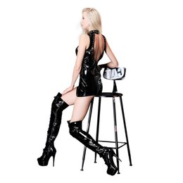 Canada Rock Girl Sexy Hollow Out Mini Robe Femmes Noir PVC Plus La Taille XXL Col Roulé Zipper Retour Humide Look Cuir Dress Clubwear supplier plus size turtleneck dress black Offre