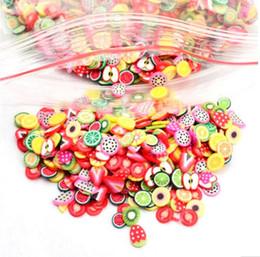 3d fruchtaufkleber Rabatt Hot 1000 Stücke Obst Tiere Blumen 3D Nagel Aufkleber Frauen Mädchen Bunte Cartoon Nagel Dekorationen Fimo Lehm Serie