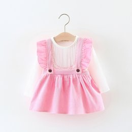 Wholesale Pink Velvet Clothing Wholesale - 2018 kids clothes Children's suit Korean version of the solid color light heart velvet dress 2 sets of new spring children's clothing
