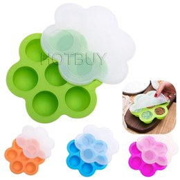 Wholesale Hole Bit - 7 Holes Silicone Egg Bites Molds Baking Ice Mold DIY Kids Food Boxes Reusable Storage Container Freezer Tray With Lid Baking Tool #4627
