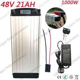 batterie rack arrière Promotion Porte-bagages arrière avec batterie de vélo électrique haute capacité 48V 20AH 1000W pour vélo électrique Batterie au lithium 48V 20AH avec chargeur BMS 54.6V 2A