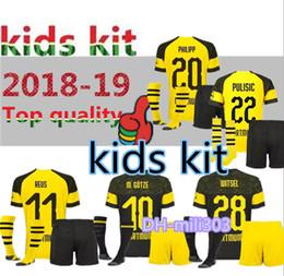 Crianças borussia on-line-2018 2019 crianças kit Borussia Dortmund casa camisa de futebol uniforme 18 19 REUS PULISIC M.GOTZE WITSEL Dortmund criança longe BOYS camisas de futebol