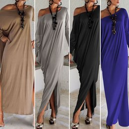 Wholesale One Shoulder Batwing Sleeve Dress - Lady large S-2XL sexy slant shoulder long dress women solid color long sleeve off shoulder one piece ankle-length party gown