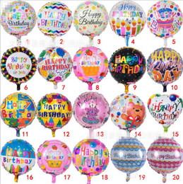 Wholesale flower foil - 18 inch happy Birthday letter balloons Helium Foil balloon flower cartoon printed celebrate Birthday Party decoration Balloon KKA5086