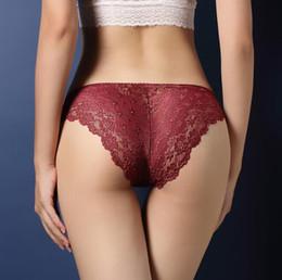 culotte pour femme Promotion Femme Sexy Dentelle Design Briefs Femmes Sous-Vêtements Taille Basse Culotte Chaude Couleur Unie Dames Lingerie Slip Sous-Guerre Confortable Vêtements