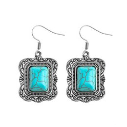 Wholesale gold blue gem earring - SHUANGR Vintage Square Drop Earrings Blue Stone Charm Bohemia Gem Jewelry for Women Costume Accessories brincos femme