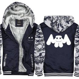 Camouflage Marshmello DJ Skrille Print Men and Women Winter Hoodie Zipper  Jacket Sweatshirts Thicken Cardigan Coat Pullovers Tops Asian Size 1a4ea41024e0