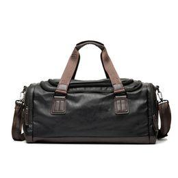 Wholesale Vintage Duffle - New Vintage Pu Leather Men Travel Bags Large Capacity Designer Duffle Bag Vintage Hand Luggage Shoulder Crossbody Bag Black