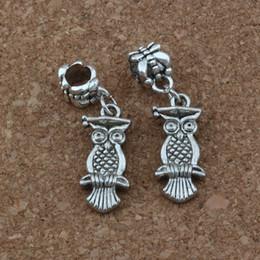 gufo d'argento antico Sconti 50 pz / lotto Ciondola Argento antico Dr. Owl Fascino Big Hole Beads Fit Braccialetto di Fascino Europeo Gioielli 9.5x33.5mm A-237a